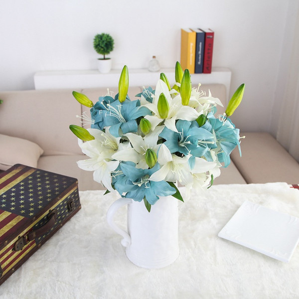Double-headed Perfume Lily Fresh Style Desk Ornaments Artificial Flowers Home Decor Wedding Romantic Props GF15258