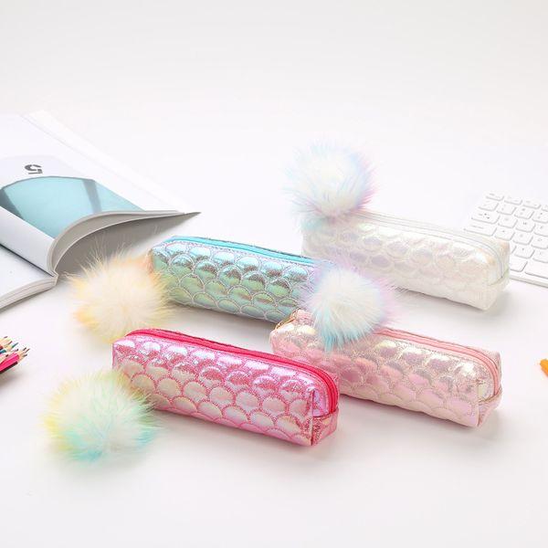 Amostra de casos de Lápis A Laser para meninas Cute Hairball escola lápis saco Cosméticos Saco de artigos de papelaria bolsa de material de escritório de Armazenamento