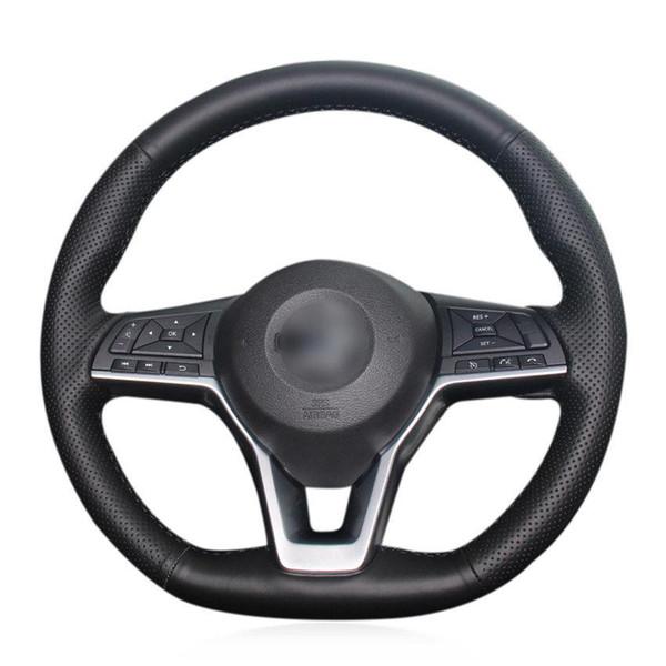 Для автомобиля Nissan X-Trail ручной работы крышка рулевого колеса черная искусственная кожа