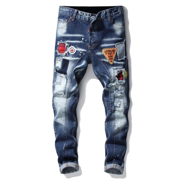 Original New Cow Trousers DS Trim Splice Paint Embroidery Small Foot Machete Men Blue Jeans 29-38 Size