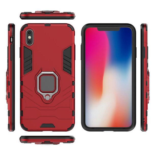 Work with Car Magnet Suction Holder) Anti Shock Proof cover Finger Ring Case For Iphone X XS max XR 7 8 6 6S 5 5S