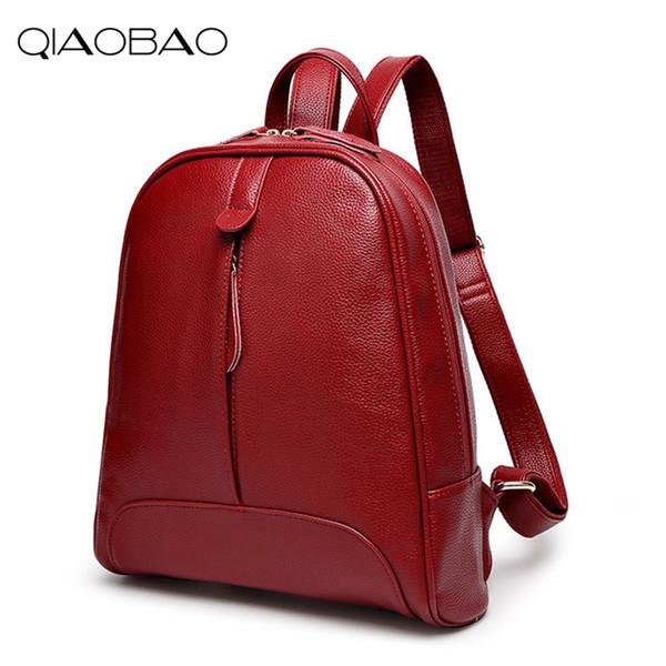 Qiaobao 2019 Fashion Women Backpack Genuine Leather Zipper Bag For Girl Summer Style Female Designer Backpack Bolsas Y19051405