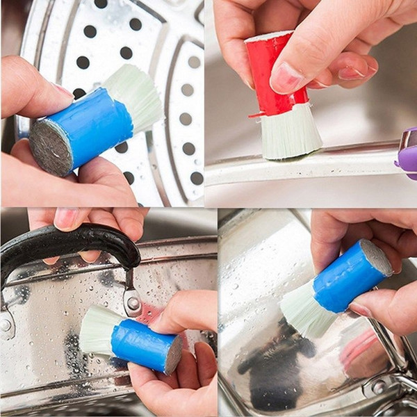 2 pcs / set pot Cleaning Brushes Stainless Steel Rod Magic Stick Rust Remover Cleaning Wash Brush Wipe Pot