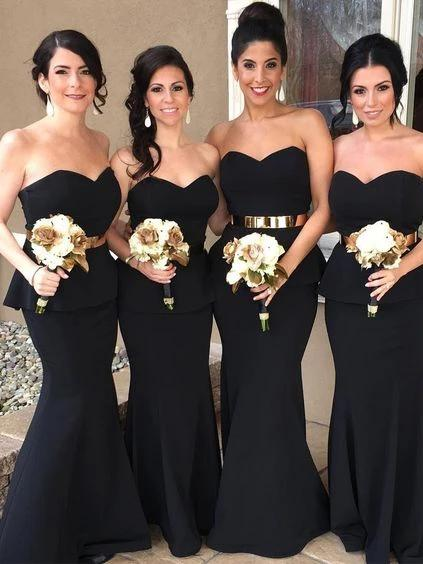 Strapless Satin Mermaid Black Bridesmaid Dresses With Metal Sash Maid Of  Honor Dresses Plus Size Zipper Up Back Wedding Dresses Party Turquoise Blue  ...