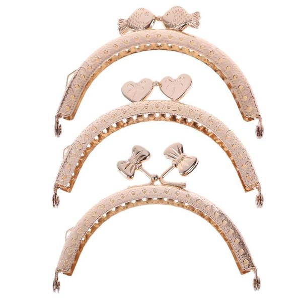 Bolso monedero Marco de metal Cierre de beso Bolsas de clip de bloqueo Fabricación de accesorios artesanales de bricolaje