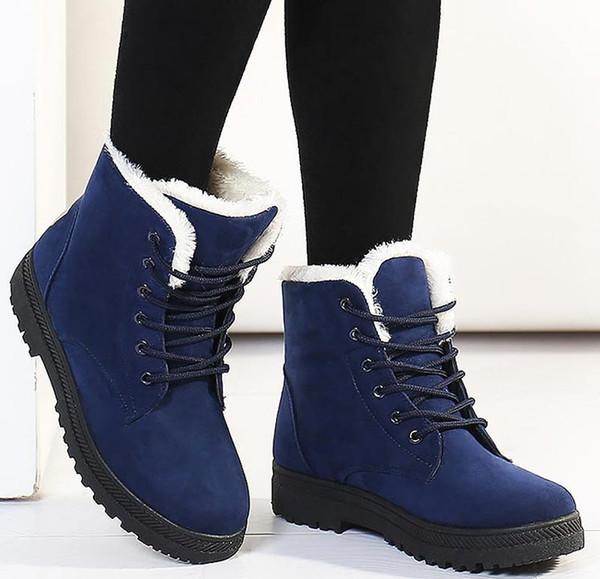 Bottes de neige 2018 talons classiques en daim femmes bottes d'hiver fourrure chaude fourrure en peluche Semelle intérieure bottes femmes chaussures chaude chaussures à lacets femme