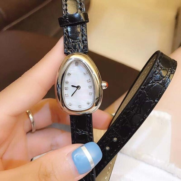 28mm Serpentine Womens Quartz Watches Ladies Watch Solid Case Back Pink Crown Stainless Steel Case Black Leather Band
