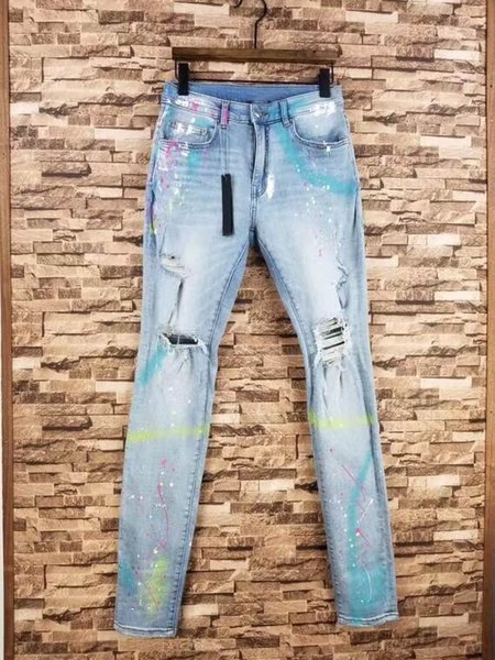 2019 Men Art Paint Splatter Graffiti Skinny Distressed Lt Indigo Jeans Broken Denim Pants From Wenshicu 130 97 Dhgate Com