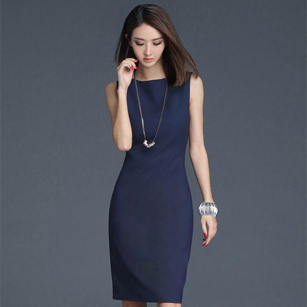 Soperwillton 2019 Elegant Office Dress Summer Dresses Women O-neck Wear to Work clothes Bodycon Dress Lady Work vestidos #BD728 Y19042303