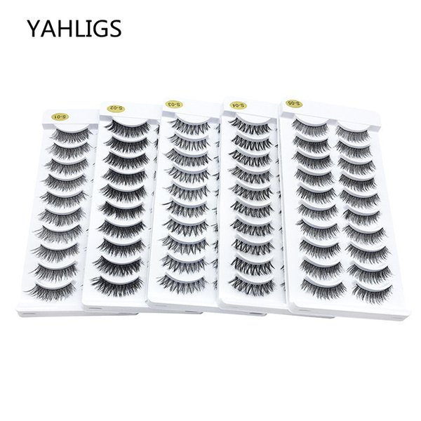 YAHLIGS 10 Pairs 3d Mink Lashes Thick 100% Real False Eyelash Extensions False Eyelashes Natural False Makeup For Beauty YA230