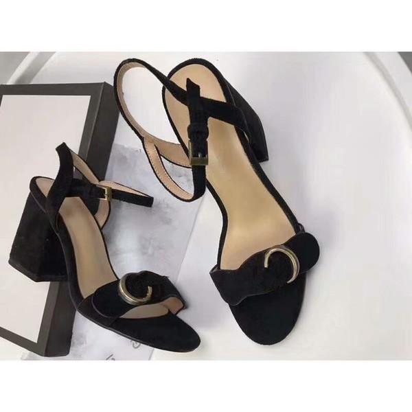 Designer 2019 New Luxury high Heels Leather suede mid-heel Brand sandal Women woman summer sandals Size 35-40 Girls summer shoes
