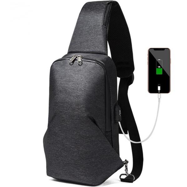 Men's chest bag shoulder Messenger bag USB charging men's bag youth sports small backpack