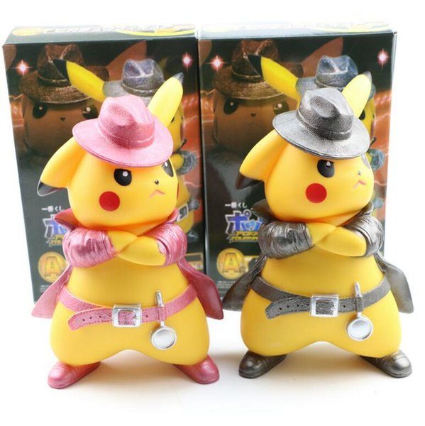 16cm Movie Big Detective Pikachu PVC Figure Dolls Detective Pikachu Dolls Detective Pikachu Action Figures Doll Kids Gifts COLOR BOX PACKING