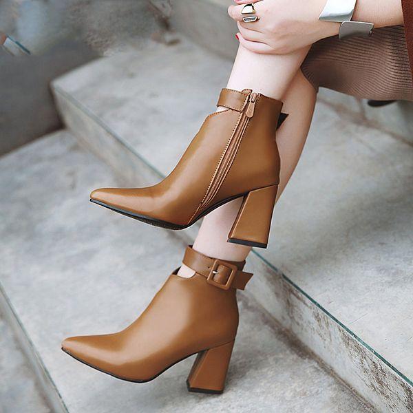 Correa de tobillo Tacones altos Botas de mujer Zapatos de punta puntiaguda Cremallera Botines femeninos Zapatos de pu Mujer Invierno
