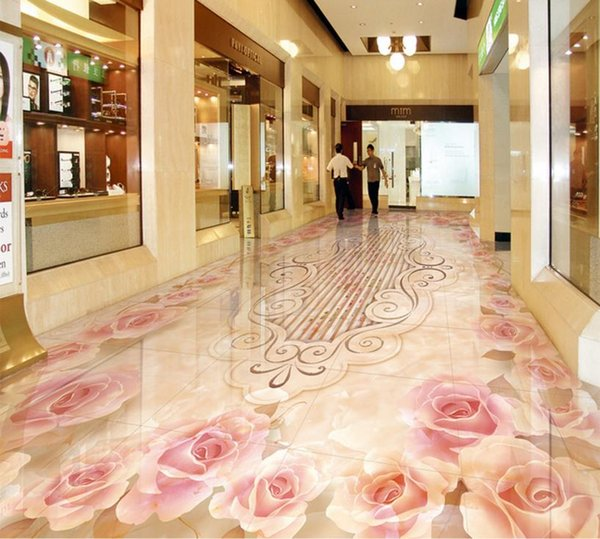 custom 3d flooring Euporean pattern 3d wallpaper living room bedroom floor tiles self adhesive wallpaper