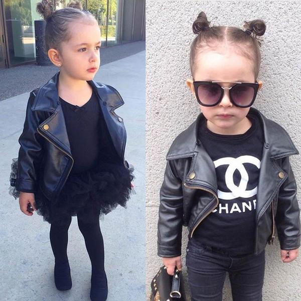 Crianças Jaquetas de couro Pu meninas jaqueta Crianças Casaco crianças roupas de grife meninas outwear meninas casaco Moda vestidos de marque para enfants