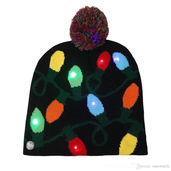 Рождество Косплей шапки Вязание Санта Hat теплая зима Взрослые Дети Xmas Tree Рождество Хэллоуин LED Освещенные вязаную шапочку