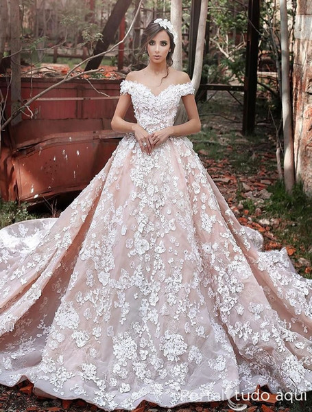 2019 New Vintage Lace Wedding Dresses Sexy Off the Shoulder Short Sleeves Applique Sweep Train Ball Gown Bridal Gowns Custom Made