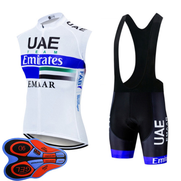 Mens cycling jersey suit summer sleeveless bike vest bib shorts set bike Outfits