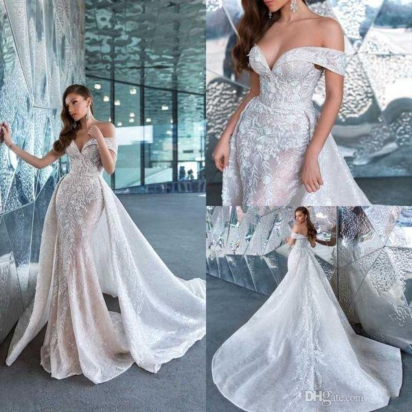 best selling Illusion Top New Design Backless Lace Wedding Dresses Applique Off Shoulder Satin Bride Gowns With Detchable Vintage Mermaid Bridal Dress