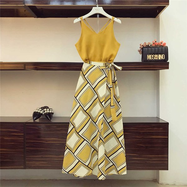 Holiday Wind Bohe Skirts Suit Women Summer Sexy Suspender Vest Top + High Waist Split Fork Printing Skirt Two-piece Sets Y19042901