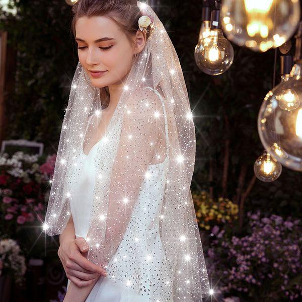 Em armazém barato casamento Véus Bling Bling Applique Tulle Bridal Veil longo Wedding Veil Acessórios do casamento