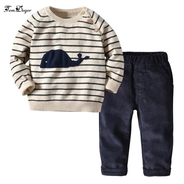 abbigliamento bambino all'ingrosso imposta inverno vestiti per bambini vestito a strisce maglione + pantaloni di velluto a coste 2 pezzi abiti bambini ragazzi casual