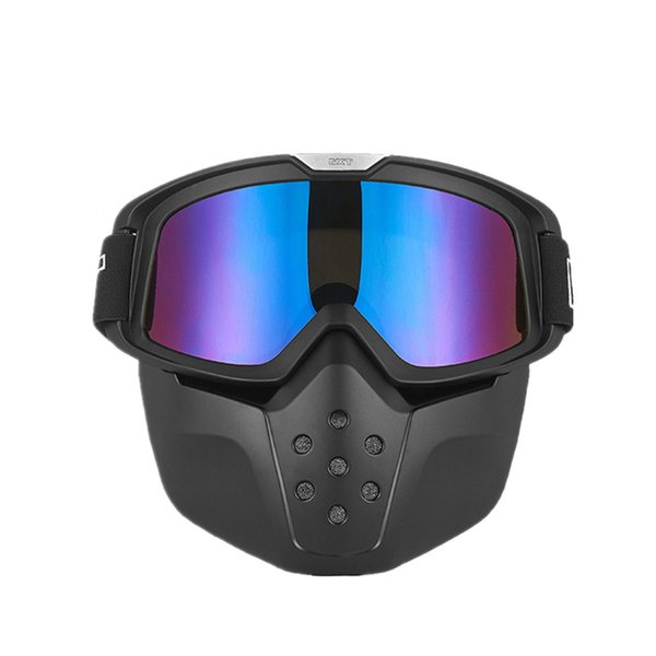 GXT Motorcycle goggle mask Retro open face helmet mask Motocross goggles with detachable Paintball game face Moto