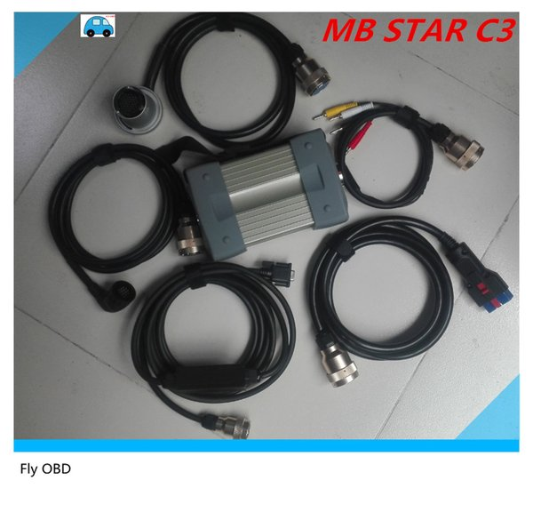 Top Quality MB Star C3 Full Set 5 Strong Copper Cables Car Auto Diagnostic tool MB C3 All New red Relay mb star c3 Free shipping