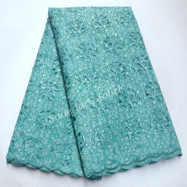 glitter lace beautiful mint green french sequins Organza lace fabrics high quality african lace fabric for wedding dress QG426