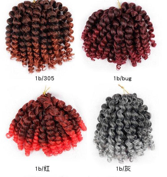 Baguette Curl extensions de cheveux crochet 80g / 8 pouces pcs La Havane mambo torsion tresser cheveux synthétiques Crochet extensions de cheveux Tresses