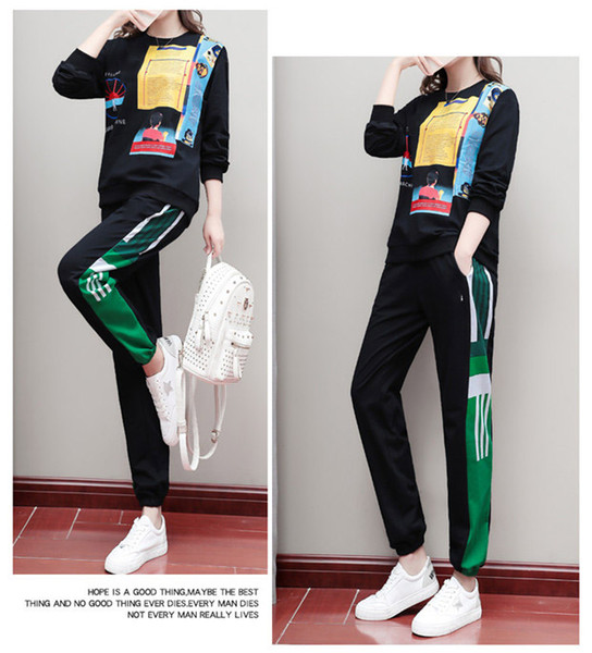 Women Autumn Fashion Printed Fashion Casual Sport Suit Two-piece Set Tracksuits Sweatshirt Striped Panel Tracksuit Factory S-3XL B101310Q