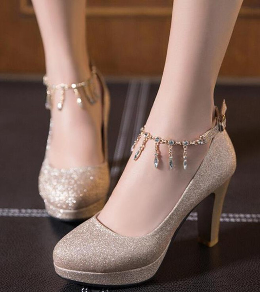 best selling Plus size 35 to 40 41 42 43 44 45 46 Glitter rhinestone chain thick high heels wedding shoes sexy designer pumps Come With Box