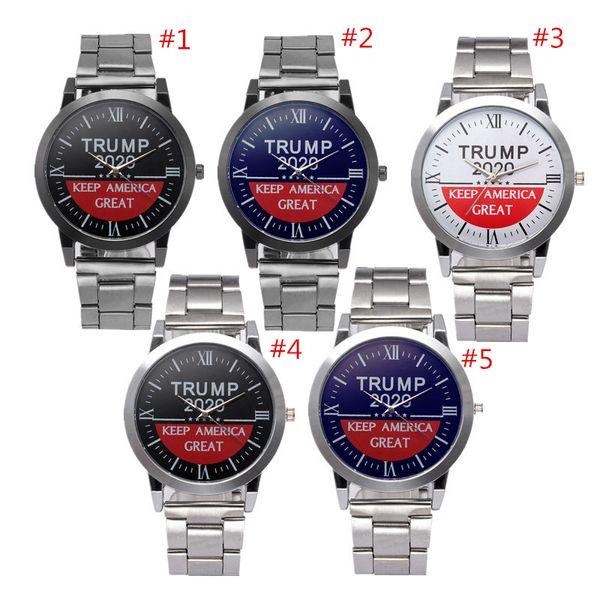 top popular Donald Trump 2020 Women Men Watches Letter Retro Quartz Wristwatches 37mm Stainless Steel Strap Watch Automatic Movement SL39 Wrist Watches 2020