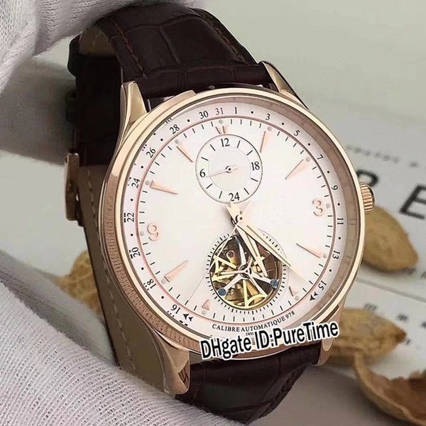 High Quality Master Rose Gold White Dial Gold Number Mark Big Tourbillon Automatic Mens Watch Brown Leather Watches Timezonewatch JL-B116a1