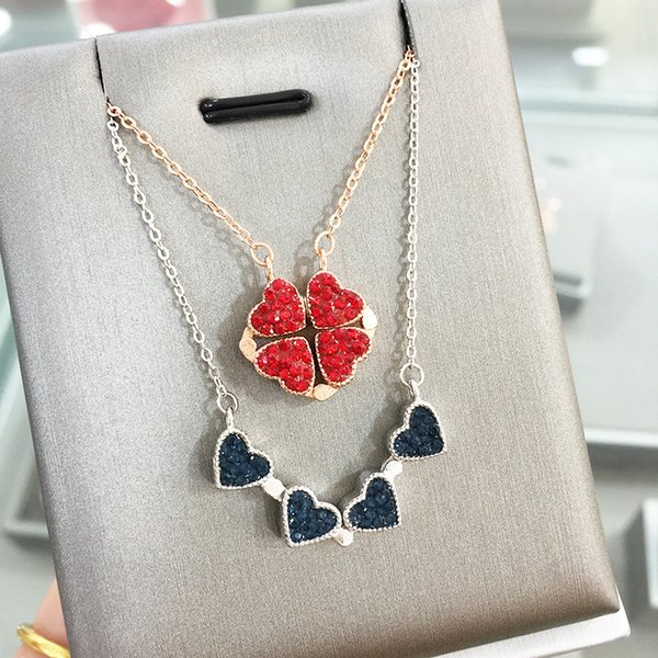 s925 pure silver blue red two-sided love magnet open necklace chain necklace for women girls gift silver rose gold colorr