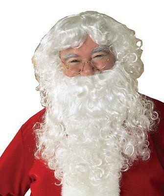 Father Christmas Xmas Wizard Old Man Fancy Dress SANTA CLAUS WHITE WIG & BEARD Anime queen Cosplay hair wigs Free deliver