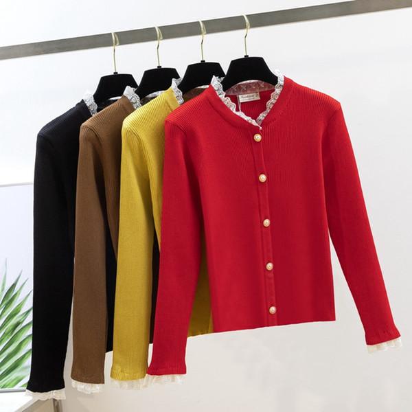 GIGOGOU Women Cardigan Sweater 2019 Spring Autumn V Neck Sweet Girl Jacket Lacing Patchwork Open Cardigans Cute cardigan femini