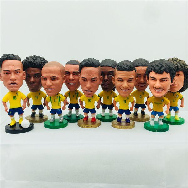 best selling Soccerwe 6.5cm Height Soccer Doll Brazil Neymar Jr Jesus Ronaldo Ronaldinho Carlos Coutinho Marcelo Doll Yellow Kit Christmas Gift