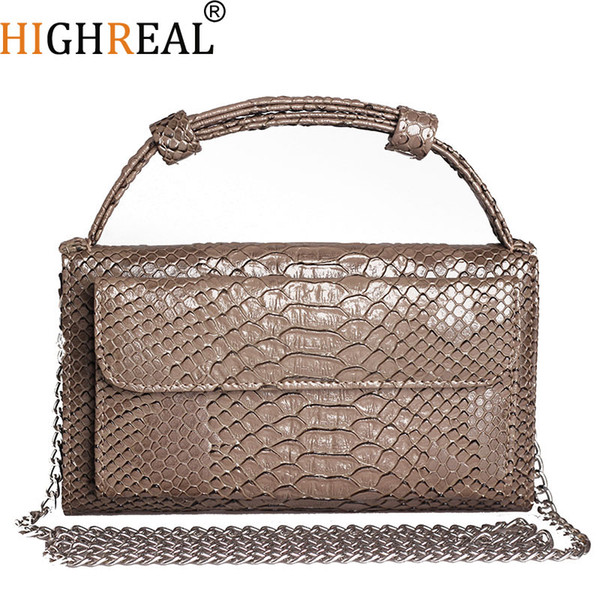 Crocodile Women Messenger Bag Genuine Leather Chain Strap Day Cutches Small Shoulder Crossbody Handy Wallet Ladies Handbag