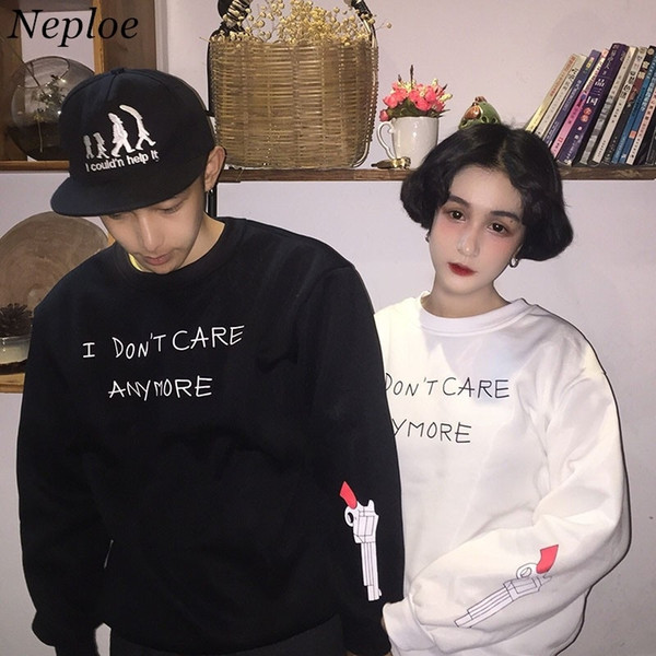 Neploe M-3xl Korean Fashion Women Hoodies Funny Letter Printed Couple Sweatshirt Long Sleeve Casual Harajuku Hoody 41661 SH190824