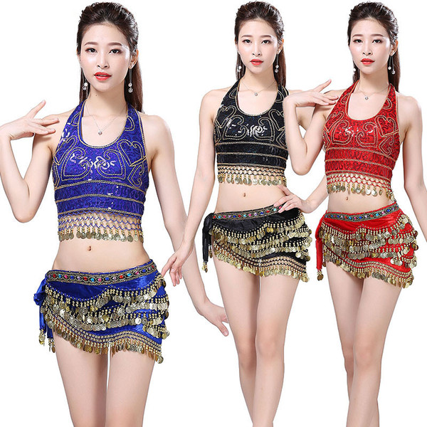New Women Belly Dance Costume Ballroom Dance Wear Nightclub Christmas Party Dancing Outfits 2 Pcs Set Hip Scarf Top Bra