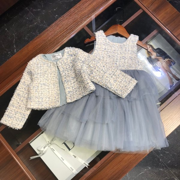Girls dress sets kids designer clothing jacket + stitching mesh sleeveless dress 2pcs composite fabric lining cotton autumn vest skirt sets