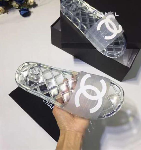 Markalı Kadınlar Yumuşak PVC Ev Terlik Moda Adam Mektup Baskı Slip-on Kauçuk Taban Düz Slayt Sandal