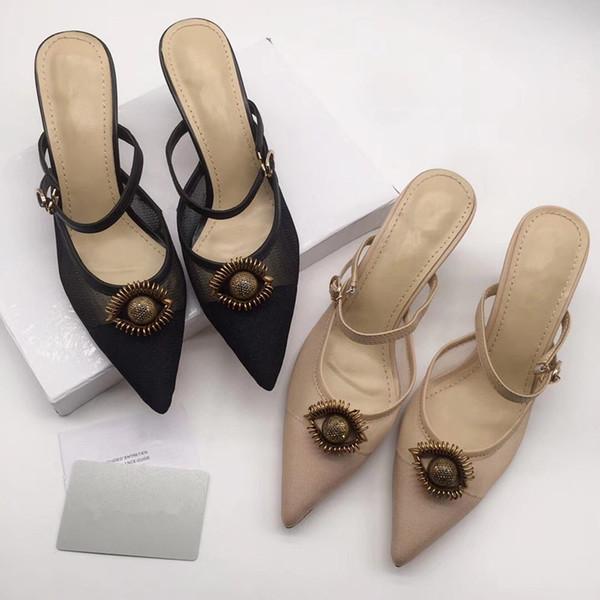 Sandali classici Lady Summer 2019 Designer Shoe Sandali Peep Toe Fibbia in metallo Scarpe da donna col tacco alto sexy in pelle ks19042801