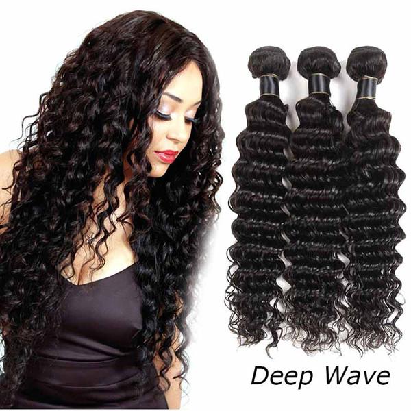 Extensiones de cabello humano Remy brasileño malasio Tejidos 3/4 Bundles Lote Extensiones de cabello humano Tramas de cabello Remy Onda profunda 50 g / pcs