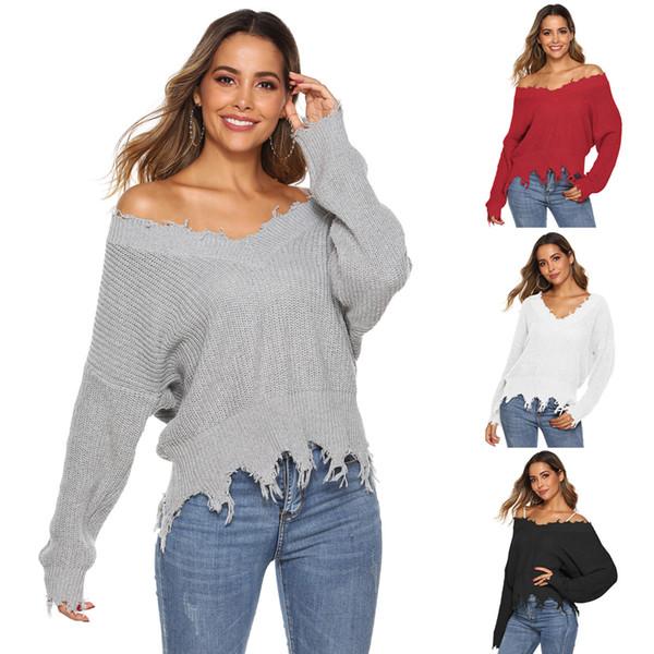 Женщин V шеи длинным рукавом кисточкой Fringe Нерегулярное Ripped Проблемные Вязаная пуловер свитер Перемычка Топы
