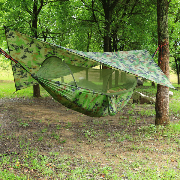 top popular Outdoor Automatic Quick Open Mosquito Net Hammock Tent With Waterproof Canopy Awning Set Hammock Portable -Up 2021