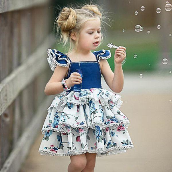 2019 new fashion girl clothes H915 Lace sling Summer baby dress lattice sleelvess girl cake pettiskirt beautiful shirt
