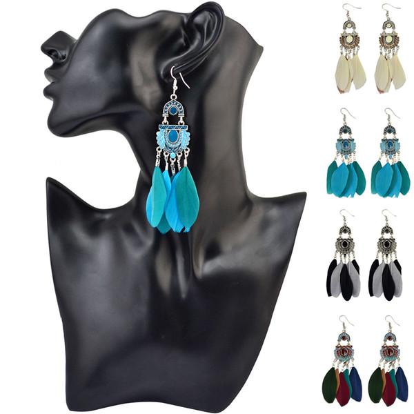 4-colore orecchini gancio Boemia retrò colore nappa piuma squisita di buon auspicio nube orecchini modello gioielli Vendita all'ingrosso